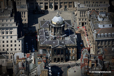 aerial photograph of Liverpool Town Hall at the junction of High Street,  Dale Street, Castle Street, and Water Street in Liverpool, Merseyside
