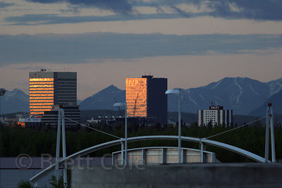 Late light on buildings in Anchorage, Alaska