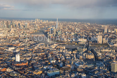 Aerial view of London, Strand towards River Thames and London Eye.