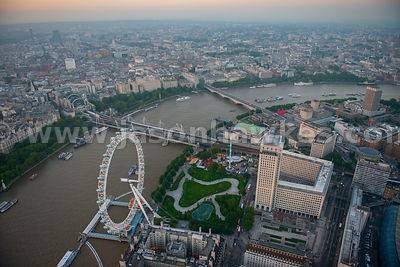Aerial view of the London Eye at dusk, London