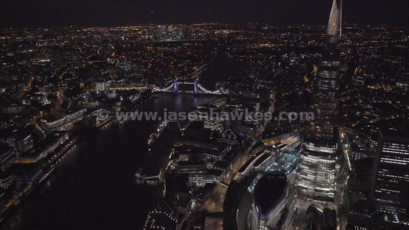 Aerial footage of the Shard at night