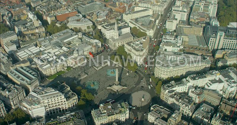 London Aerial Footage of Trafalgar Square
