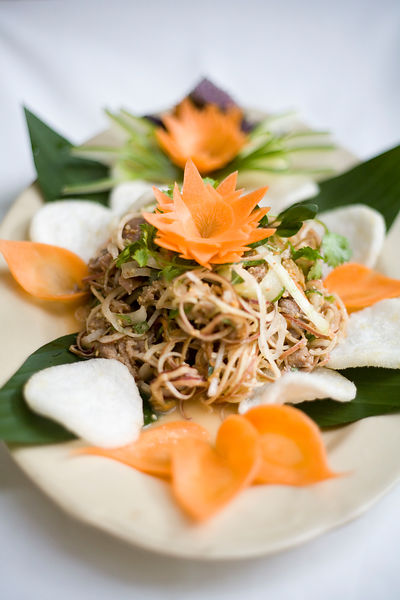 A dish of Banana Flower salad with beef