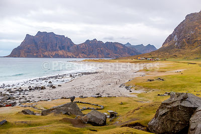 The iconic Uttakleiv Beach in the Lofoten Islands