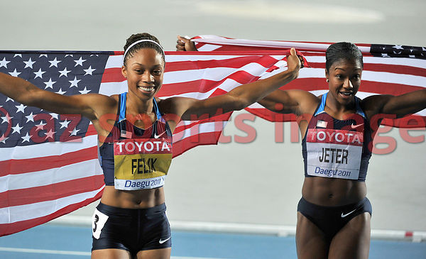 The two Americans Carmelita Jeter and Allyson Felix.