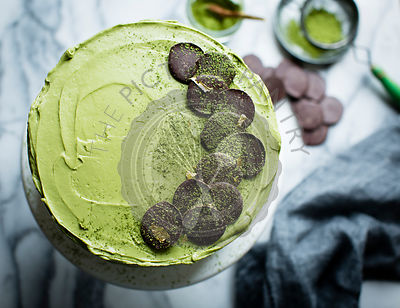 Chocolate Zucchini Layer Cake with Matcha Cream Cheese Frosting. Gluten free.