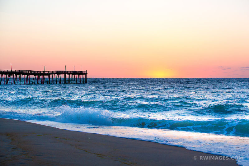 FISHING PIER AND ATLANTIC OCEAN HATTERAS ISLAND OUTER BANKS BEFORE SUNRISE