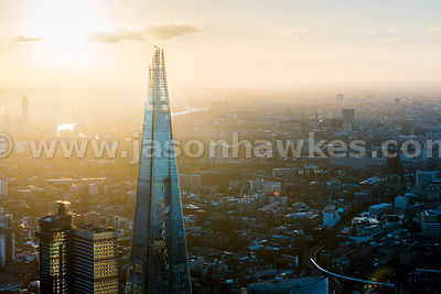 Aerial view of The Shard at dusk, London