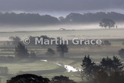 Early morning mist in October, Lyth Valley, Cumbria, England