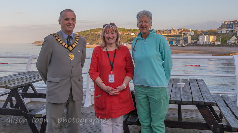 Cromer Mayor John Frosdick with Jenni Randall and Wendy Dawson, CEO REES