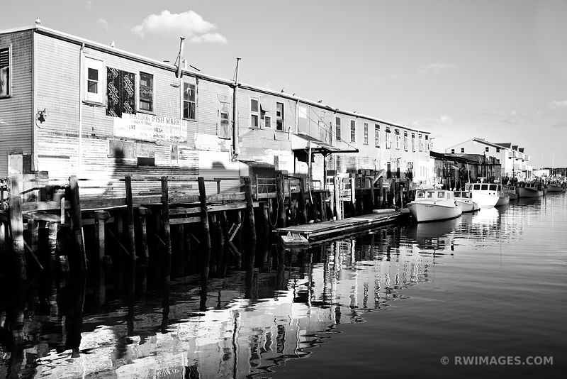HARBOR FISH MARKET PORTLAND MAINE BLACK AND WHITE