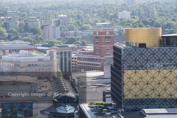 Aerial photograph of Birmingham City Centre, England. The library of Bimringham, Symphony Hall and Brindleyplace.