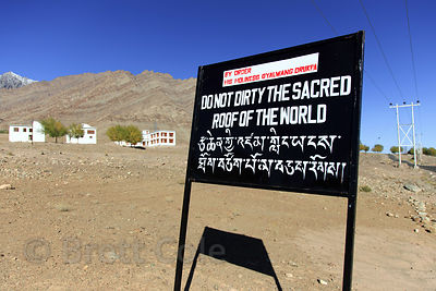 Sign asking people not to litter near Hemis Gompa, Ladakh, India. This part of the Himalayas is a cold desert, and garbage is very slow to biodegrade.