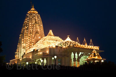 Hindu temple with elaborate lighting during the Diwali Festival, Jaipur, Rajasthan, India