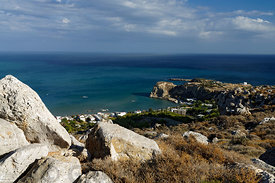 The seaside village of Stegna from above, Archangelos, Rhodes, Dodecanese Islands, Greece.
