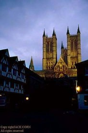 England, Lincoln, street and Cathedral, night