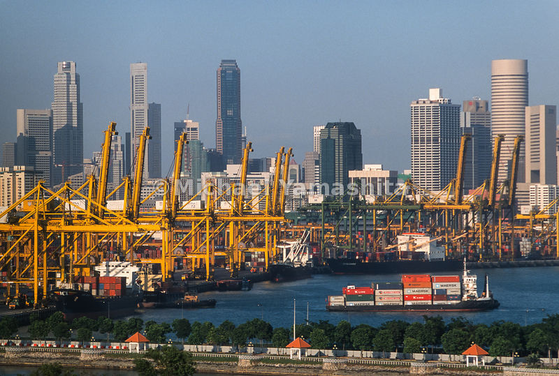 Singapore's container port views with Hong Kong as Asia and the world's #1 container port.