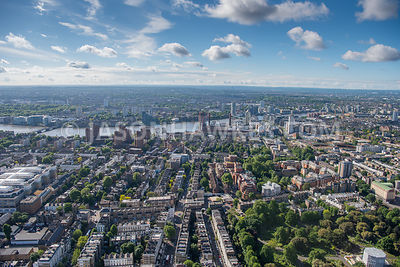 Aerial view of London River Thames and Brompton
