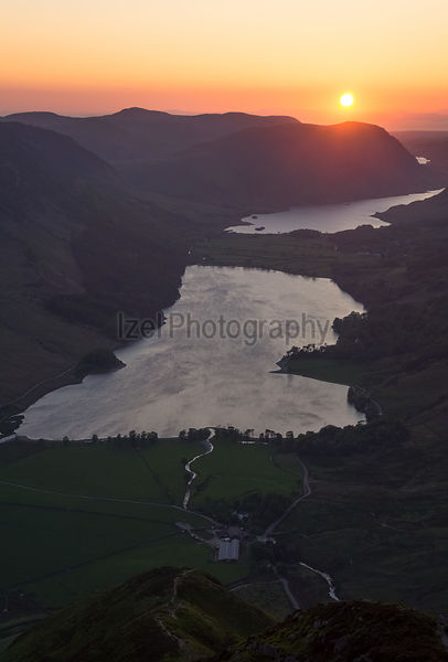 Sunset over Lake Buttermere, Lake District, England, UK.