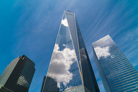 Reflection of clouds on the glass panes of World Trade Center in New York City.