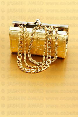 Gold Purse with Gold Jewelry