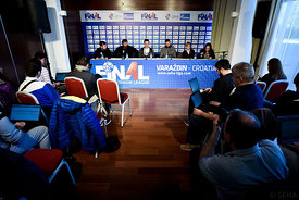Zlatko HORVAT, Veselin VUJOVIĆ of PPD Zagreb, Raul GONZALES, Stojanche STOILOV of VARDAR during the Final Tournament - Final Four - SEHA - Gazprom league, press conference, Croatia, 31.03.2016, ..Mandatory Credit ©SEHA/Nebojša Tejić.