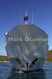 Bow of motor yacht Siran