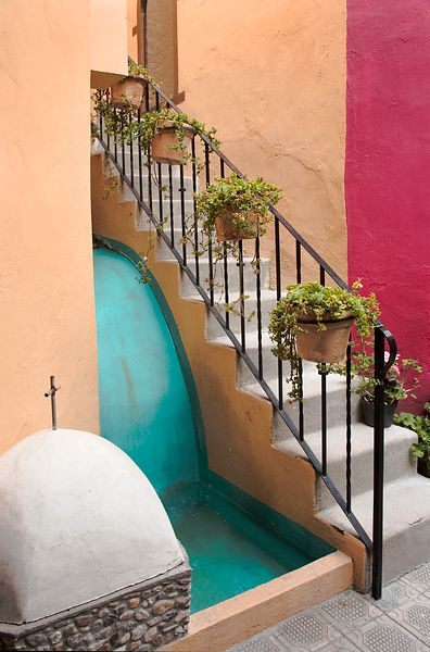 Stairs and Colored Walls