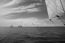 Start of the Tall-Ships Race 2007, Arhus - Kotka, taken from board of the four-masted barque Sedov