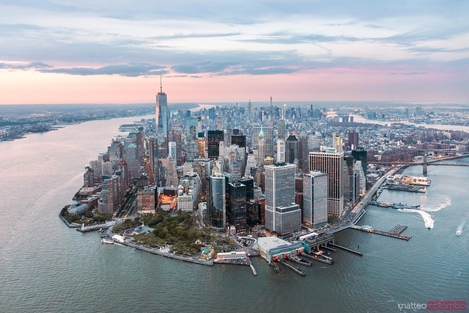 Aerial of lower Manhattan peninsula at sunset, New York, USA