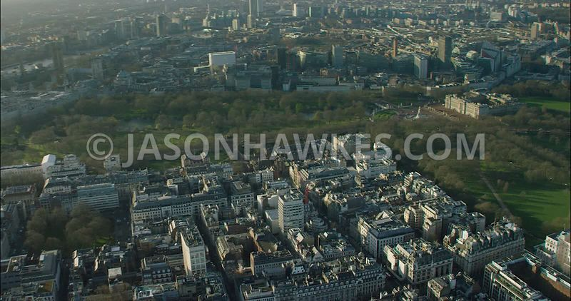 London Aerial Footage of St James's with Buckingham Palace.