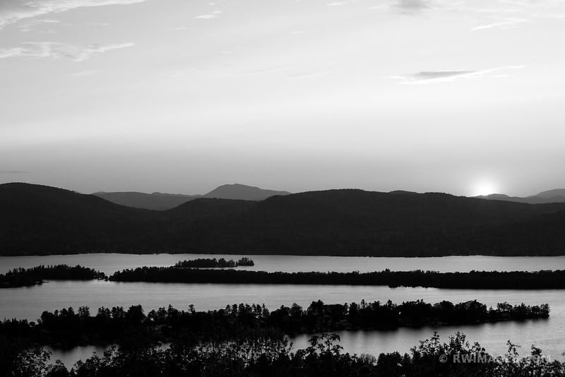 SUNSET FROM PILOT KNOB RIDGE LAKE GEORGE ADIRONDACK MOUNTAINS BLACK AND WHITE