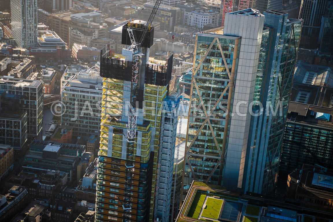 Aerial view of London, Broadgate Tower close up from Shoreditch High Street.
