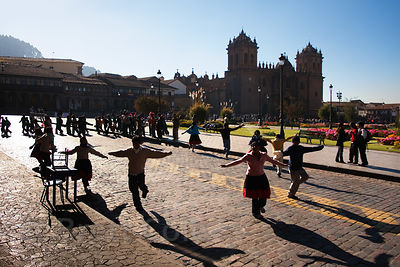 University students practice their dance routine during Cusco Week in Cusco, Peru