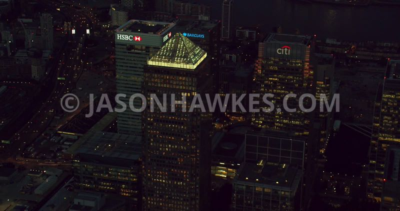Aerial footage of Canary Wharf, London.