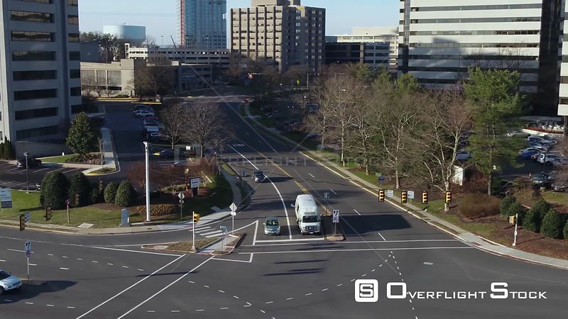 Tysons, Virginia, USA. Rising truck from street level up to Tysons Corner skyline.