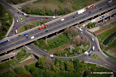 aerial photograph of junction 9 on the M6 motorway at Walsall West Midlands    England UK