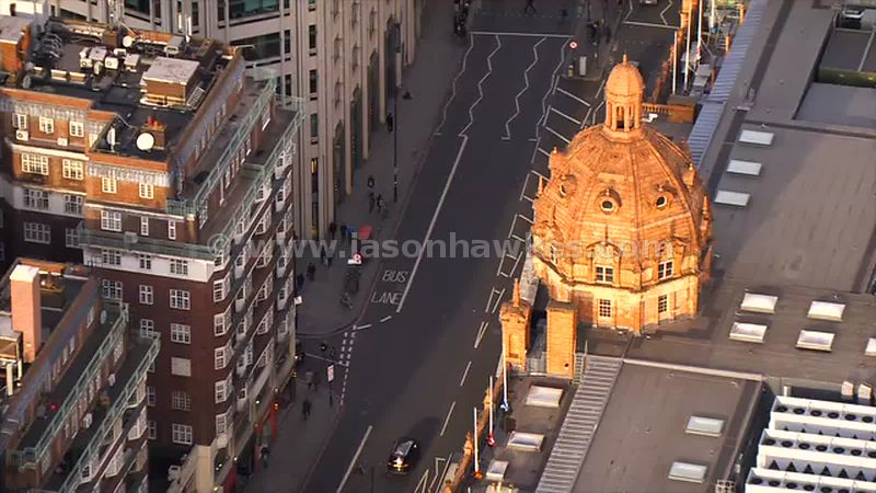 Aerial footage of Harrods, Knightsbridge, London