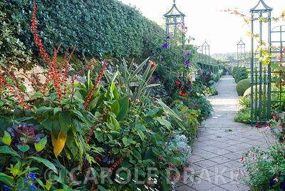 Metalwork screen divides the White Garden from colourful exotics planted around the greenhouse. Bourton House, Bourton-on-the-Hill, Moreton-in-Marsh, Glos, UK