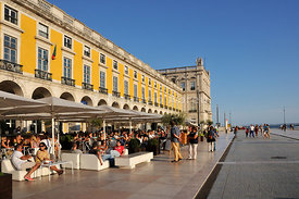 Cafes at Terreiro do Paço. Lisbon, Portugal
