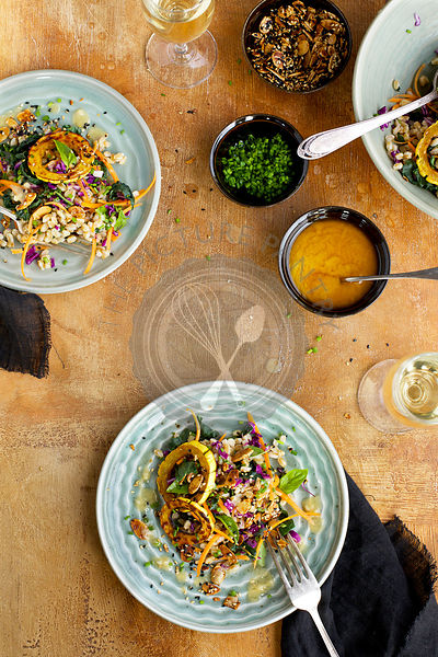Sesame Farro Salad with Delicata Squash served with dressing, toasted nuts, chives and white wine.