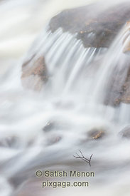 Waterfall and Twig, Rocky Mountain Creek, Fayetteville, Pennsylvania, USA