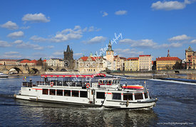 Tourist boat on the Vltava River, Prague, Czech Republic