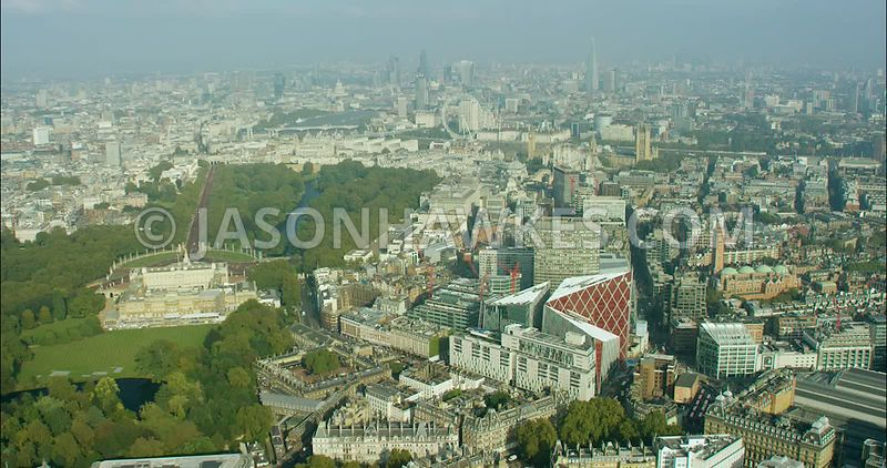 London Aerial Footage of Buckingham Palace and Nova Complex.