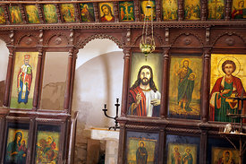 Interior of Aghios Minas church Alimnia Island. Situated between Chalki and Rhodes, Dodecanese Islands, Greece.