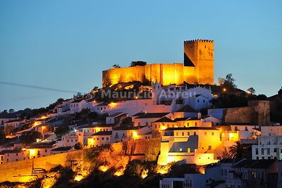 The historical village of Mértola at sunset. Guadiana Valley Natural Park, Alentejo, Portugal