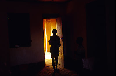 Burundi - Ruyigi - An orphan of Burundi's ethnic conflict, stands in the door of her house built by Marguerite Barankitse