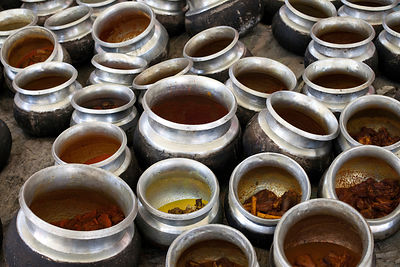 India - Srinagar - Details of prepared food in pots at a Wazwan, a Kashmiri feast