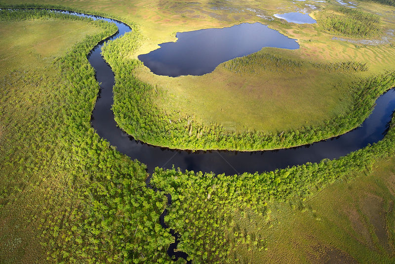Aerial view of river flowing through peat bogs and taiga boreal forest, Sjaunja Bird Protection Area, Greater Laponia Rewilding Area, Lapland, Norrbotten, Sweden, June 2013.