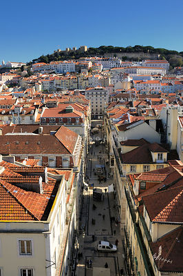 Baixa district and the castle of São Jorge. Lisbon, Portugal